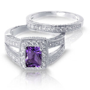 White Gold Emerald Cut Amethyst w/ Sapphire Engagement Wedding Silver Ring Set