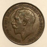1921 Great Britain Penny, George V, KM# 810, AU  #2673