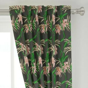 """Jungle Tropical Floral Vintage Leaf Petal 50"""" Wide Curtain Panel by Roostery"""