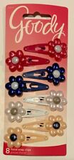 GOODY SNAP HAIR CLIPS -  MIN CLAW CLIPS - FLORAL SNAP CLIPS - PONYTAIL ELASTIC