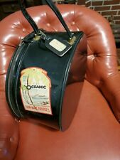 Retro Vintage Zipper Black Patent Leather Hat Box Plaid Interior oceanic cruises