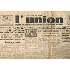 L'UNION 1945 Alexander FLEMING Tanguy-Prigent Pierre LAVAL jugé Général THRASHER