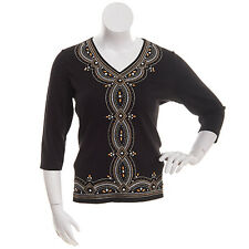 Alfred Dunner shirt size Extra Large Black W/Gold and Silver Stitching and beads