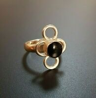 Sterling Silver 925 Ring Mexico Taxco Onyx Flower shape Size 5,5 Vintage
