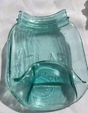 Ball Jar melted atlas mason Jar Spoon Rest,soap dish flattened Blue vintage