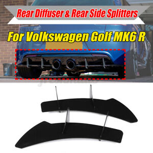 For Volkswagen VW Golf 6 VI MK6 R Rear Bumper Diffuser Back Side Splitter Lip