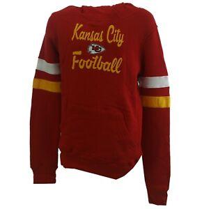 Kansas City Chiefs NFL Kids Youth Girls Size Stitched Logo Hooded Sweatshirt New