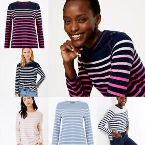 M&S Marks Spencer Womens Stripe Breton Cotton Long Sleeve Sweatshirt Top 8