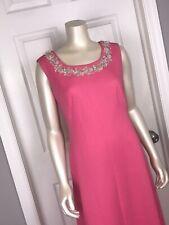 Vintage 60s MOD Hot Pink Maxi Dress VOLUP M L XL