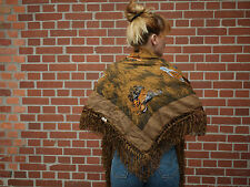HANDDRUCK Tuch Schultertuch Schal Kaschmir Wolle 90er TRUE VINTAGE 90s scarf NOS