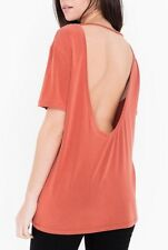 American Apparel Brushed Jersey Open Back Tunic Tee Desert Flower Coral Medium