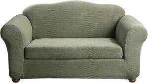 Stretch Royal Diamond Two Piece Sofa Slipcover | Form Fit | Box Cushion SAGE