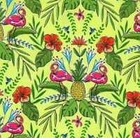 Michael Miller Flock To The Oasis – Tropical Flamingo - Lime, cotton fabric
