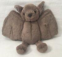 Rare Jellycat London Baby Bat Plush Brown Stuffed Animal Soft Toy 8x10