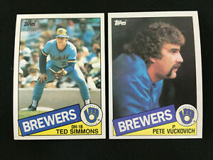 1985 TOPPS MILWAUKEE BREWERS TED SIMMONS & PETE VUCKOVICH BASEBALL CARDS