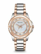 NEW Bulova Women's Two-Tone Silver Rose Gold Watch, 12 Diamonds, w/Box, 98P134