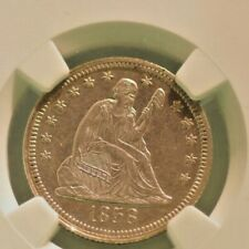 1858 Seated Liberty 25c AU Details Cleaned NGC