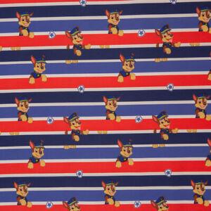 Lizenz Softshell Paw Patrol Chase Streifen Kinderstoff Meterware 0,5m