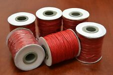 6 ROLLS - 600 METERS RED WAXED COTTON BEADING CORD STRING ROLL 1MM #F-51I