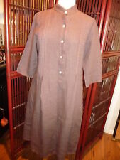K M made in Italy size 46 brown linen band collar easy to wear dress