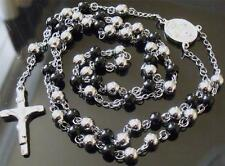 "SUPERB 26"" SILVER & BLACK STAINLESS STEEL ROSARY BEADS NECKLACE ~ CRUCIFIX"