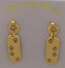 Paw Print  Jewelry Gold Down and Back Post Earrings