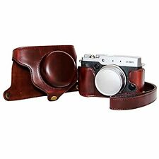 PU Leather Camera Case Bag for  Fujifilm X30 Camera + Shoulder Strap Dark Brown