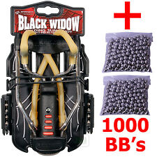 Barnett BLACK WIDOW Powerful Hunting Slingshot Catapult + 1000 x 6.35mm BB Ammo