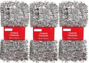 CHRISTMAS TREE TINSEL GARLAND SIVER LOT 3 X 50' = 150' THIN TRIM WHOLESALE USA !
