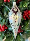 Lovely FLORAL Blown MERCURY GLASS Hand Paint TEARDROP Icicle Christmas Ornament