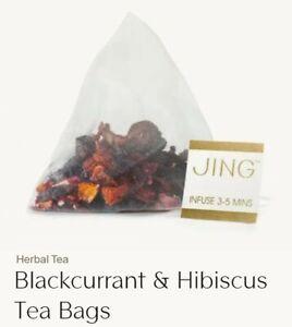 """JING"" Hibiscus and Blackcurrant total 20 Enveloped pyramid Tea Bags"