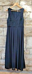 UK 12 Izabel of London stunning Long Black Dress embroidered v-neck 2-layer