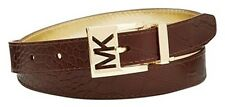 Michael Kors Belt Reversible Croco Embossed  Chocolate to Gold , L