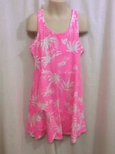 Old Navy Girl's Comfy Hot Pink White Tropical Print Dress Size 8 Soft EUC