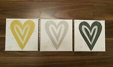 Hand painted love heart art pictures for any room  grey mustard silver white