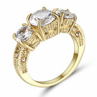 Size 7 Round White Sapphire CZ Engagement Ring Gold Rhodium Plated Jewelry gift