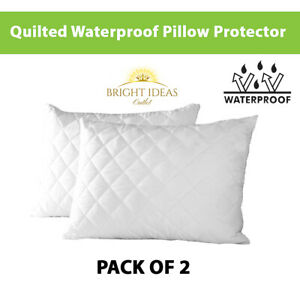 2x Waterproof Pillow Protector Cover Pair with Anti Allergic Soft Quilted New