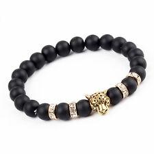 Leopard Lava Stone Gold & Crystal Bead Bracelet
