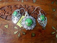 Sterling Silver Green Mojave Turquoise Pendant with Earrings