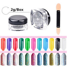 2g Holographic Laser Glitter Rainbow Powder Nail Art Gel Chrome Pigments Decor
