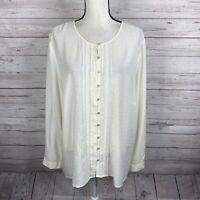 J. Jill Womens Button Front Blouse Size XL Ivory Long Sleeve Swiss Dot