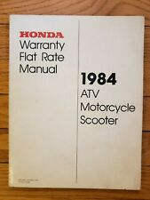 Honda Warranty Flat Rate Manual 1984 Atv Motorcycle Scooter S0082