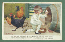 PRETTY C1920'S MILLICENT SOWERBY PC - OH MRS HEN! HOW KIND TO LEAVE AN EGG