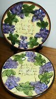SET OF  2 Dinner Plates HD Designs NAPA GRAPE grapes Hand Painted hdq2