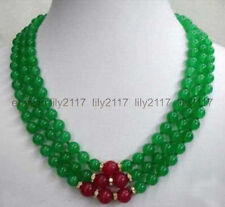 Fashion 3 Rows 8mm Green Emerald & Red Ruby Round Gemstone Beads Necklace 17-19""