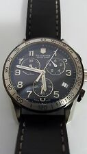 Men's Victorinox 241404 Swiss Army Watch Classic Black Dial Chronograph Leather