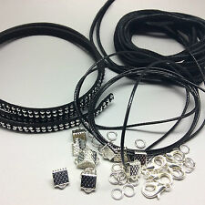 Black Faux Suede and Polyester Waxed Cord Necklace and Bracelet Making Kit