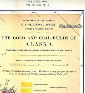 1898 U.S. Geological Survey National Geographic Map GOLD FIELDS OF ALASKA