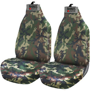 VW CADDY - Heavy Duty Green Camouflage Waterproof Car Seat Covers - 2 x Fronts