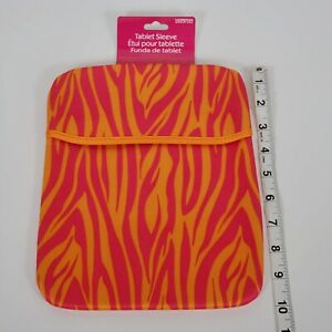 8 x 10 Simple Tablet Sleeve Multicolor Zebra Red/Orange NWT